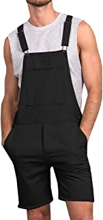 Mens Bib Overall Shorts Lightweight Casual Loose Fit Walkshort Jumpsuit Button Hole Rompers