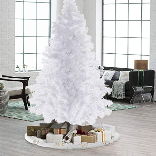 Artificial Christmas Tree ,Easy Assembly Flocked Snow Xmas Holiday Decor Tree with Metal Stand for Living Room, Yard, Garden(7 Foot)