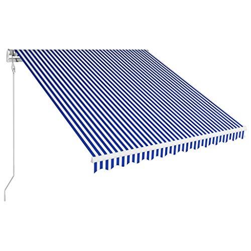 Kshzmoto Toldo automático retráctil Azul y Blanco Terraza Balcón Toldo Resistente a Los Rayos UV Toldo Montando en la Pared Toldos para Patio 350x250 cm