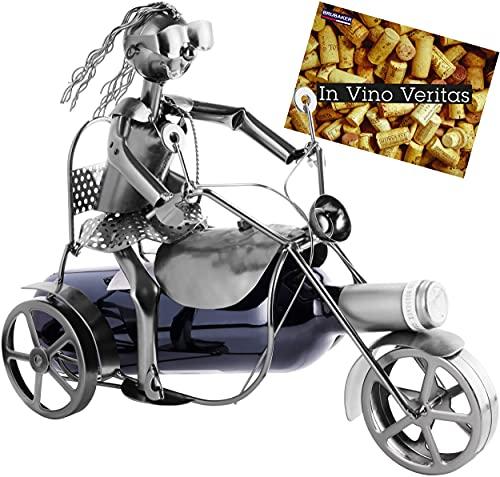 Brubaker Soporte para botellas de vino, diseño de triciclo, escultura de botellas, regalo de metal para los fans de las motos
