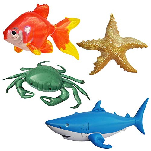 Jet Creations Inflatable Ocean Life Sea Underwater Assorted Bathtub Toys Educational OCEAN02 4 Count