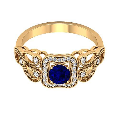 Piedra de nacimiento de septiembre - Anillo solitario de zafiro azul de 5,00 mm, anillo de diamantes HI-SI, anillo de compromiso vintage dorado (calidad AAA), 14K Oro amarillo, Size:EU 67