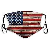 Cómoda máscara impresa, 4 de julio, tablones de madera pintados como bandera de Estados Unidos estilo patriótico país, rojo beige, decoración facial resistente al viento para adultos Tamaño: M