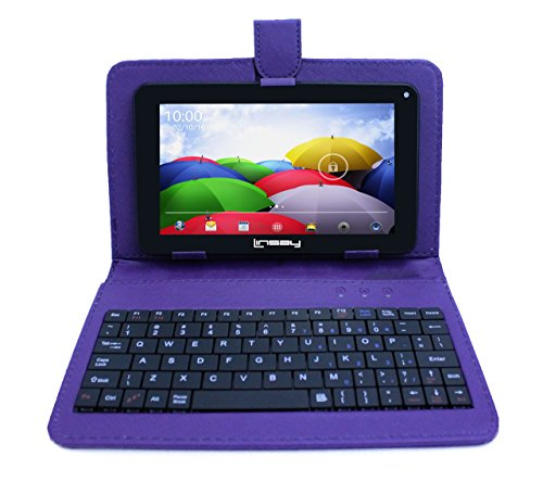LINSAY New F7XHDBKPURPLE, Quad Core, Dual Cam 8GB Android 4.4 Kit Kat with Purple Leather Keyboard