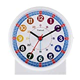 Tinload Analog Alarm Clock for Kids, Telling Time Teaching Design, Silent Non Ticking,Gentle Wake, Increasing Beep Sounds, Battery Operated Snooze and Light Functions (White-B)