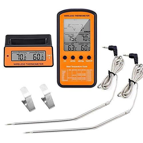 Angela Drahtlose Fernbedienung für digitales Kochen von Lebensmitteln Fleischthermometer mit Sonde, Küchenraucher BBQ-Grill-Thermometer, zum Grillen von Backofen, -50 bis 300 ° C