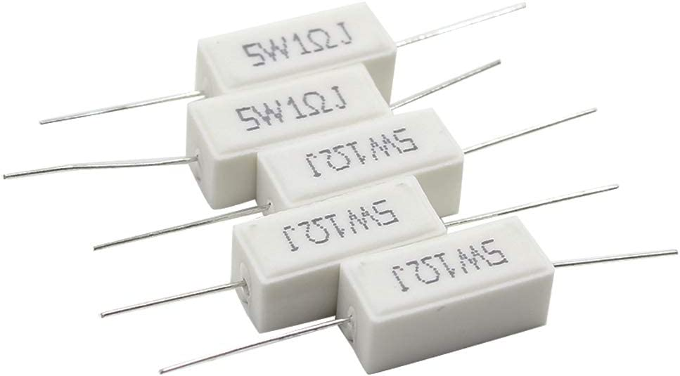 TOUHIA 15pcs Wirewound Ceramic Don't miss the campaign 1ΩJ Inductionless Resistor 5W Soldering