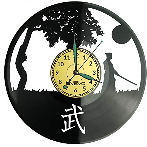 Orologio da parete in vinile giapponese, stile retrò, grande orologio, decorazione per la casa, regalo ideale per amici e colleghi, in vinile, decorazione per la casa, parete ispirante