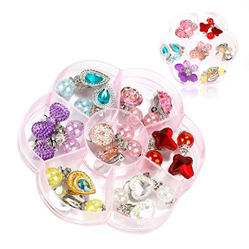 Hifot 7 Paare Clip Mädchen Ohrringe Prinzessin Klipp Ohrring Set Dress up Prinzessin Schmuck Zubehör für Mädchen Kinder Kleinkind in 2 klaren Boxen