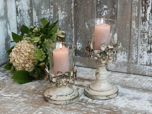 Chic Antqiue - Portacandela antivento con decorazione floreale, in vetro metallo/vetro (piccolo: altezza 18 cm - D 12 cm)