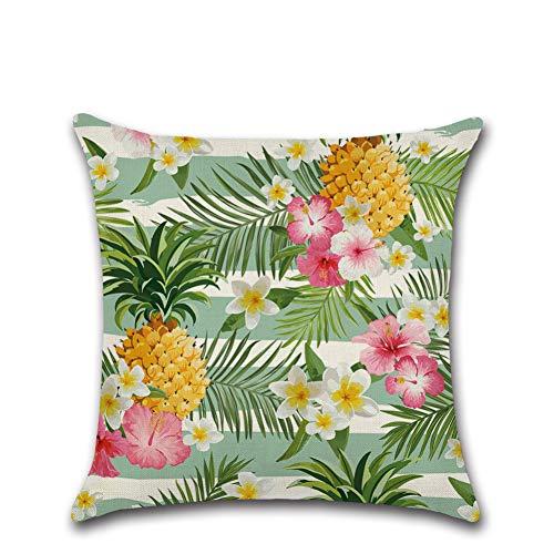 Jiaquhome Tropical Flowers Plants Linen Pillowcase Sofa Couch Throw Pillows Palm Monstera Decorative Cushions Cover 2PC