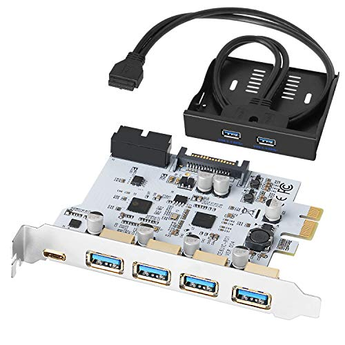 QNINE 7 Ports PCIe USB 3.0 Karte, 4 x USB A + 1 x USB C, USB 3.0 PCIe Erweiterungskarte mit USB 3.0 Front Panel und 2 Stromkabel