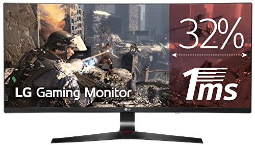 "LG 34UC79G Monitor da Gaming 34"", Curvo, 21:9 UltraWide LED IPS, 2560x1080, 1ms, 144Hz, AMD FreeSync, Multitasking, Regolazione Altezza"