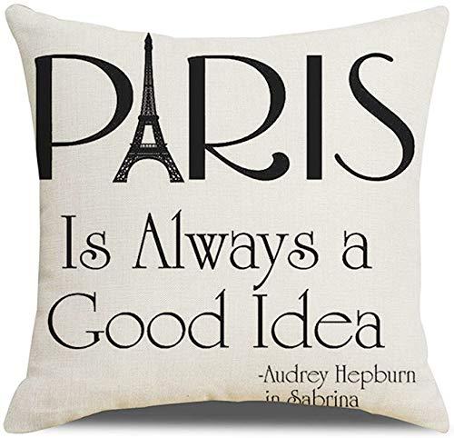 KnBoB Funda Almohada 50 x 50 cm Negro Blanco Lino Paris Is Always a Good Idea Torre Eiffel Estilo 8