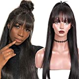 TOOCCI parrucca donna capelli veri wigs human hair parrucca corta capelli umani donna straight wigs non lace front with bangs brazilian hair natural color 12inch