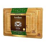 JAY-LONG Juego de 3 Tablas de Cortar de bambú, Multiusos con Ranura para Jugo, preengrasado, Resistente, Duradero, para Preparar Alimentos, Carne, Verduras, Pan, Galletas, Corte de Queso