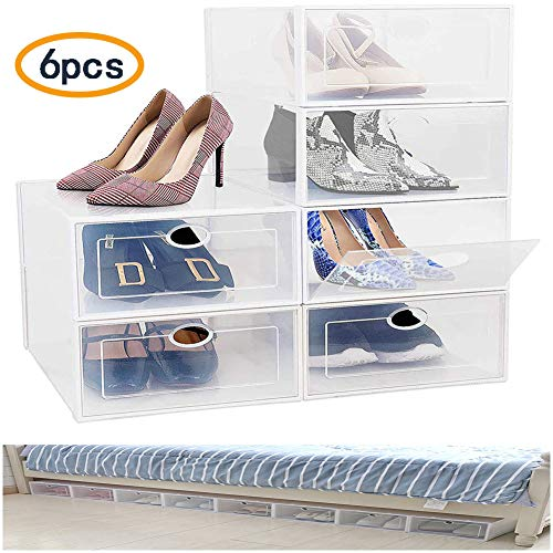 Eustoma Caja Plegable para Zapatos, Shoe Storage Cajas de Almacenaje - Cajas Transparentes para Zapatos - Ajas Organizadoras para Ahorrar Espacio (White)
