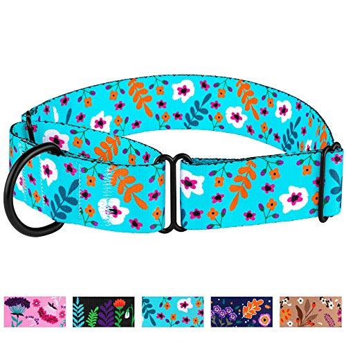 CollarDirect Martingale-Halsbänder für Hunde, strapazierfähig, Blumenmuster, für weibliche Sicherheit, Nylon, breites Halsband, Blumenmuster, Größe L/M, XL, Neck Size 19