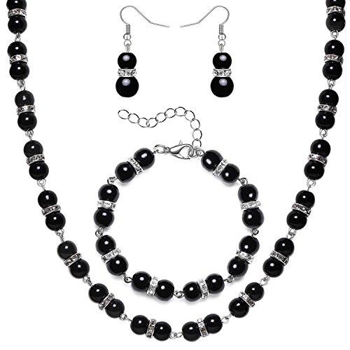 ArtiDeco 1920s Damen Halskette Hochzeit Braut Schmuck Accessoires Set Imitation Perlen Kette Retro Stil Armband und Ohrringe Gatsby Kostüm Zubehör (Schwarz)