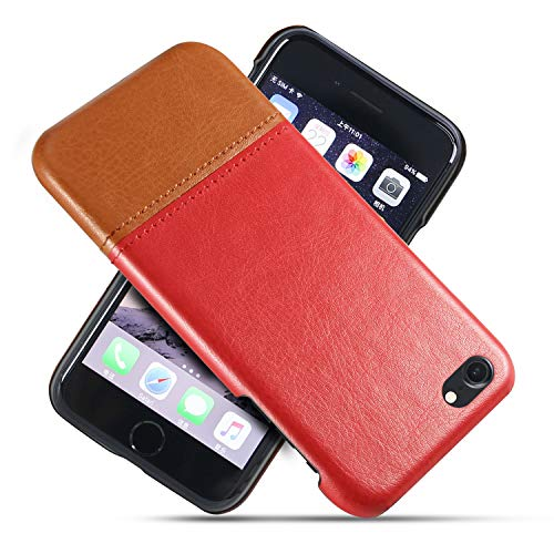 Suhctup Compatible con iPhone 6 Plus/6S Plus Funda Cuero Calidad Ultrafina Estilosa Simple Empalme Estilo Carcasa de Piel Durable Antigolpes Antideslizante Protección Caso(Rojo marrón)