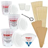 TCP GLOBAL Premium Paint Mixing Essentials Kit. Comes with 12 Mixing Cups, 6 Lids, 12 Wooden 12' Mixing Sticks, 12 Wooden Mini Mixing Paddles, 12 HQ 190 Mesh Paint Strainers & Paint Can Opener.