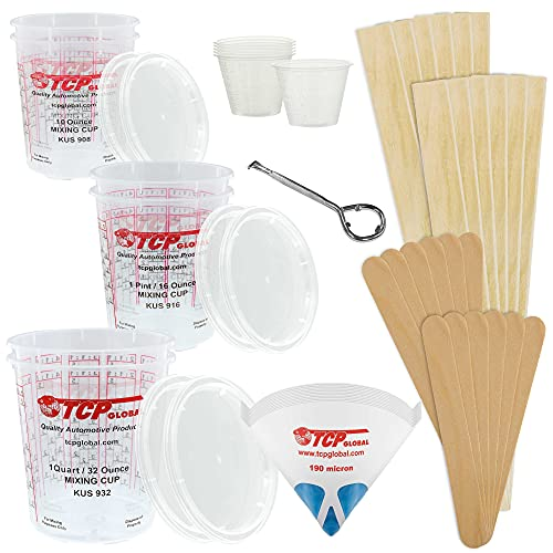TCP GLOBAL Premium Paint Mixing Essentials Kit. Comes with 12 Mixing Cups, 6 Lids, 12 Wooden 12 Mixing Sticks, 12 Wooden Mini Mixing Paddles, 12 HQ 190 Mesh Paint Strainers & Paint Can Opener.