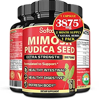 Natural Mimosa Pudica Seed Capsules - 7 Herbs - Equivalent to 3875mg with Oregano Garlic Neem Leaf Black Walnut Powder Clove Powder Guduchi Powder - 1 Pack 60 Capsules for 2 Months