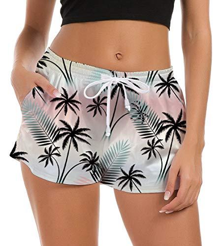 Fanient Damen Trainingshose Shorts Strand Wassersport Boardshorts Hawaiian Palme Schwimmshorts Yoga Gym Activewear Schwimmen Shorts Boxershorts Fitnesstaschen Sporthose L
