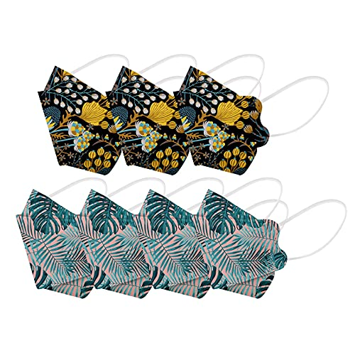Kuailema 70 Stück Universal-Zahnschutz für Erwachsene Männer und Frauen, Nicht Wiederverwendbare Blumenturbane, Schals, Außenschutzwerkzeuge, fischförmige Mund- und...