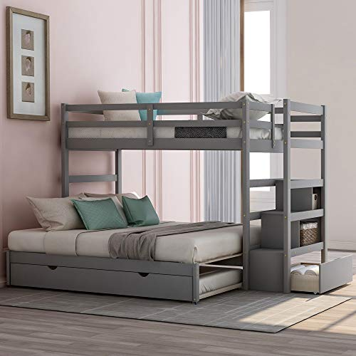 Polibi StairwayTwin Over Twin/King Bunk Bed with Twin Size Trundle, Drawers and Guardrail, 3-in-1 Wood Trundle Bunk Bed for Kids Teens Boys and Girls, Grey