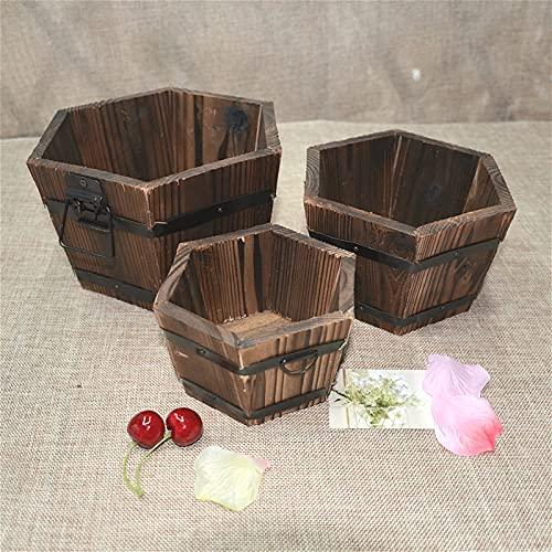 BHSHUXI Juego de 3 macetas de madera para jardín, redondas, de madera, con asa, para patio, jardín, interior, decoración del hogar, tres tamaños