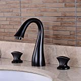Vinteen Hot And Cold All Bronze Victorian <span class='highlight'>Widespread</span> Deck Mounted Three Holes Double Handles <span class='highlight'>Bathroom</span> <span class='highlight'>Sink</span> <span class='highlight'>Faucet</span> Oil Rubbed Black Vintage