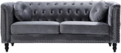 Amazon Com Us Pride Furniture Connally Chesterfield 76 Rolled Arms Sofas Rose Furniture Decor