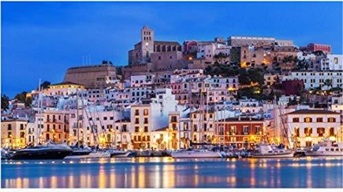 1000 Piezas De Rompecabezas De Paisajes Bricolaje Ibiza Dalt Vila En El Centro De La Noche Con Reflejos De Luz En El Agua Ibiza España Puzzles Rompecabezas Creatividad Juguetes Para Niños Adultos