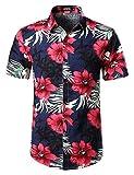 JOGAL Men's Flower Casual Button Down Short Sleeve Hawaiian Shirt XX-Large Navy