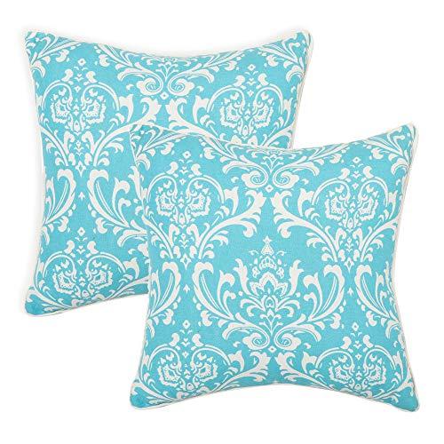 REDEARTH - Set di 2 federe per cuscino in tessuto decorativo per divano, letto, fattoria, sedia, sala da pranzo, patio, esterno, auto, 100% cotone (18 x 18 cm), colore: blu navy