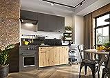 Muebles de Cocina Completa 180 cms Color Roble y Grafito, encimera y zocalos incluidos, ref-57a NO Incluye: Fregadero NI Grifo