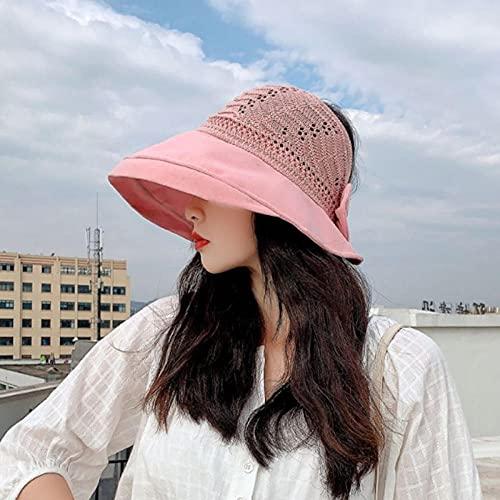Geekcook Sombrero cordobes Mujer,2021 Verano Nuevo Hecha de Punto Costa Delgada Arco Sol Sombrero Sol Sombrero Dama Fina Cara Grande Lado Grande Vacío Sombrero Top-Rosa_M (56-58cm)