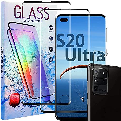 Samsung Galaxy S20 Ultra Displayschutzfolie [2+1 Pack]Galaxy S20 Ultra Vollständige Abdeckung Panzerglas Schutzfolie[Anti-Scratch]3D HD Fingerabdruck entsperren Schirm Schutz für Samsung S20 Ultra
