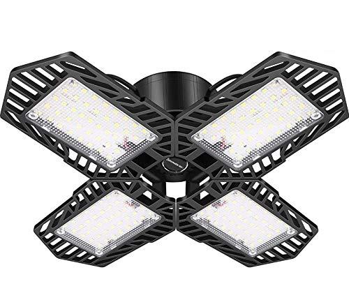 LED Garagenleuchte 100W, 4 Panels Verformbare E27-Garagenleuchte Superhelle 10000LM Decken-LED-Leuchte Werkstattleuchte Garagenarbeitsleuchte