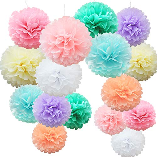 Time to Sparkle 16pcs Mix Tissue Paper Pompoms Pom Poms Flower Handmade Wedding Party Decorations Balls, Colorful Shade