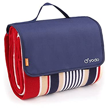 yodo Extra Large Outdoor Waterproof Picnic Blanket Tote 79  x 59,Spring Summer Navy/Red Stripe