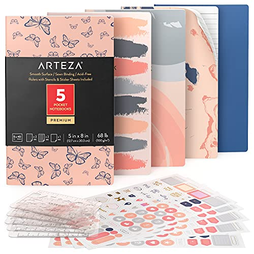 Arteza Cuadernos de Bolsillo (12,7 X 20,3cm), Pack de 5 Cuadernos Personalizados, Estilo de Mariposas con 2 Cuadernos Rayados, 2 Punteados y 1 con Hojas en Blanco, Encuadernación Cosida y Papel Grueso