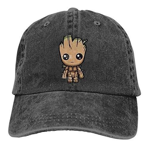Moruolin I Am-Groot Retro Sports Denim Cap Adjustable Snapback Casquettes Unisex Plain Baseball Cowboy Hat Black