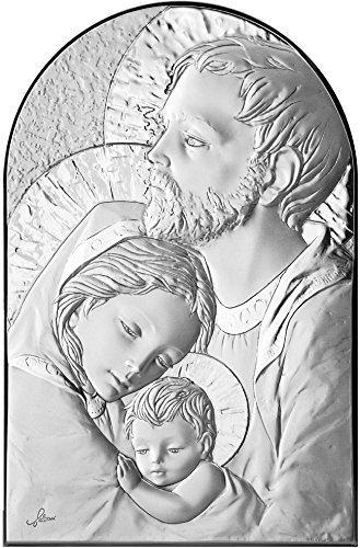 Ferrari & Arrighetti Quadro Sacra Famiglia a Forma di Arco con lastra in Argento - Bassorilievo - 19 x 12,5 cm