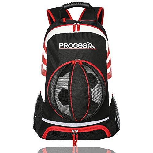 ProSoccer Soccer Backpack w/Ball Pocket - Sports Gym Bag Holds Shoes, Cleats, Water Bottles & Athletic Equipment - Comfort Fit Adjustable Straps - Unisex Design