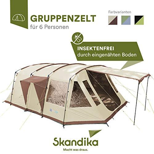 skandika Nordland 6 Personen Familien/Tunnel Campingzelt, mit fest eingenähtem Zeltboden, 200 cm Stehhöhe, 5000 mm Wassersäule, Steilwänden (beige/braun)