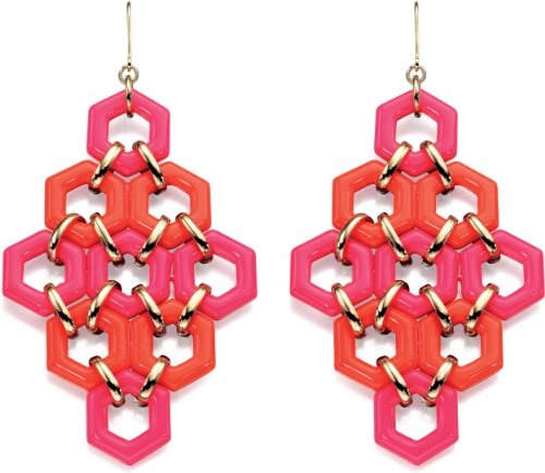 Fiorelli Costume Collection Women's E4533 Pink and Orange Resin Earrings