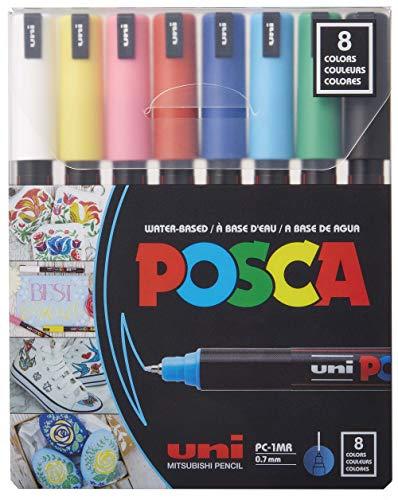 Posca Acrylic Paint Marker Set, 8 Color PC-1MR Extra Fine Markers (PXPC1MR8)