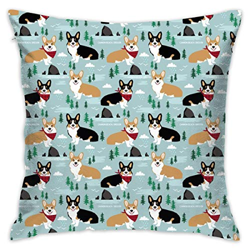 Mabell Beautifully Decorated Home Corgi Cannon Beach Corgi and Tricolored Corgis In Oregon Travel Dog Throw Pillow Case 18X18 Inches